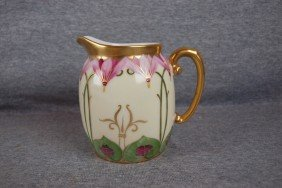 "Pickard China Pitcher With Floral Motif, 5"", Signe"