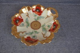 Pickard China Handled Nappy Bowl With Poppies, 8 1