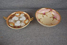 Pickard Lot Of 2 Items - Two Handled Tray And Bowl