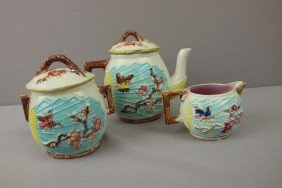 Majolica Bird And Fan 3 Piece Teaset, Various Cond