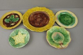 Majolica Lot Of 5 Plates And Platters, Various Con