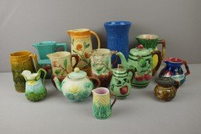 Majolica Lot Of 14 Items - Pitchers, Creamers, Tea