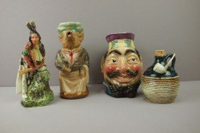 Majolica Figural Lot Of 4 Items - Face Jug, Indian