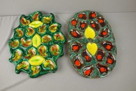 Lot Of 2 French Contemporary Oyster Serving Platte