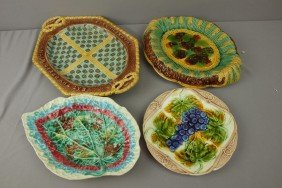 Majolica Lot Of 3 Platters And One Plate, Various