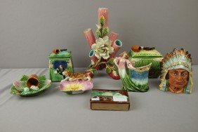 Majolica Lot Of 8 Items - Humidors, Vase, Tray, An