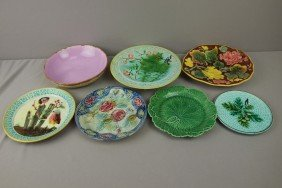Majolica Lot Of 8 Plates, Bowls And Trays, Various