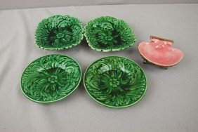 Majolica Lot Of 4 Dark Green Small Trays And Contem