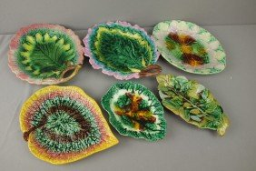 Majolica Lot Of 6 Leaf Trays, Various Condition