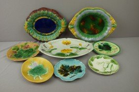 Majolica Lot Of 5 Plates And 3 Platters, Various C