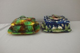 Majolica Lot Of 2 Sardine Boxes, One Cobalt With B
