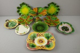 Majolica Lot Of 10 Plates, Trays And Comport, Var