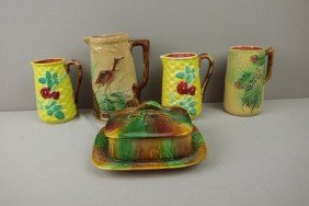 Majolica Lot Of 4 Pitchers And Sardine Box, Vario