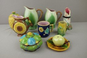 Majolica Lot Of 9 Pieces, Various Condition - 4 P
