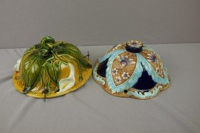 French Majolica Lot Of 2 Hanging Jardinieres, Rim