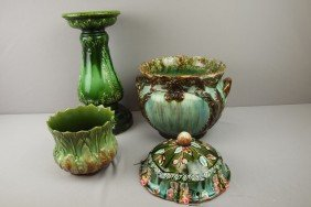 Majolica Lot Of 2 Jardinieres, Pedestal And Hangi