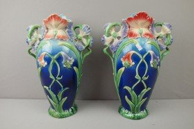 Contemporary Pair Of Majolica Style Art Noveau Va