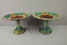 "Majolica Pair Of Gustafsburg Comports, 11 3/4""d,"