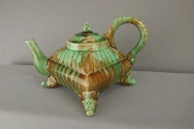 """Majolica Unusual Square Form Footed Teapot, 5""""h"""