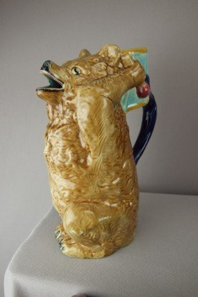 HOLDCROFT Figural Bear With Drum Majolica Pitcher