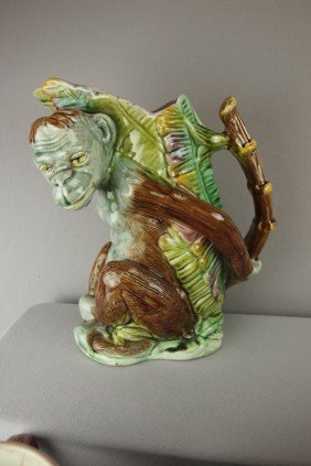Figural Monkey With Banana Leaf Pitcher And Bambo