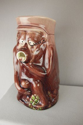 Majolica Figural Pitcher In The Form Of A Monky W