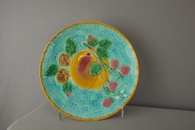 WEDGWOOD Turquoise Majolica Fruit On Basket Plate