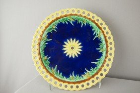 WEDGWOOD Cobalt Floral Plate With Reticulated Rim