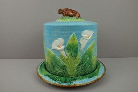 GEORGE JONES Rare Majolica Cheese Keeper With Cow