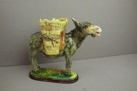 DELPHIN MASSIER Majolica Donkey Carrying Baskets,