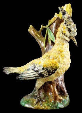 DELPHIN MASSIER Figural Vase Of A Hoopee Bird, Wh