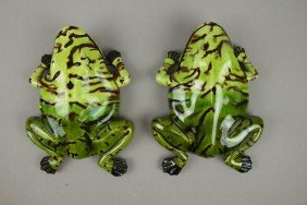 Portugal Pair Of Frog Wall Pockets, 9""