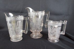 "EAPG ""Good Luck"" Lot Of 3 Pitchers, 9 1/2"", 8"" And"