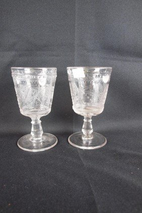 "EAPG ""Good Luck"" Lot Of 2 Goblets, 6"""