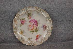 R.S. Prussia Floral Plate With Satin Finish, 8 1/2""