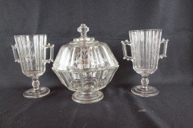 "EAPG ""Sprig"" Lot Of 3 Pieces - 2 Celery Vases And C"