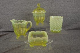 Vaseline Opalescent Glass Lot Of 4 Pieces - Sugar,