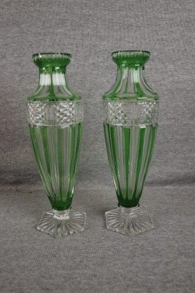 Bohemian Emerald Green Cut To Clear Pair Of Vases,