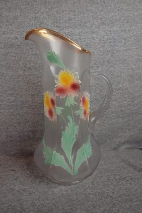 Clear Satin Glass Tankard With Floral Enamel, 13""