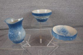 Blue And White Stoneware Lot Of 3 Pieces - Wedding