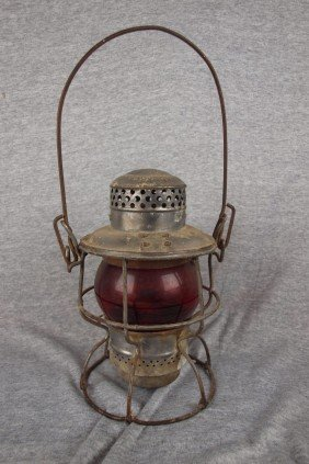 Adlake Railroad Lantern With Short Red Globe Etched