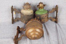 Lot Of 3 Brass Wall Mounted Caboose Lamp Brackets