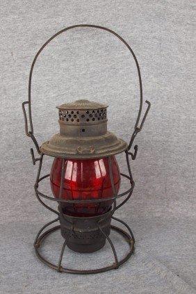 Adams & Westlake Railroad Lantern With Tall Red Gl