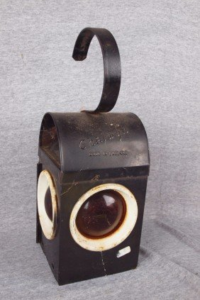 Chalwyn English Railroad Lamp With 3 Red Lenses