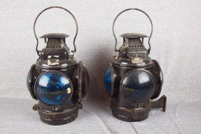 Adlake Pair Of Marker Lights Each With 3 Blue And