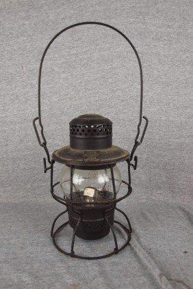 Adlake Railroad Lantern With Clear Globe, Both Emb