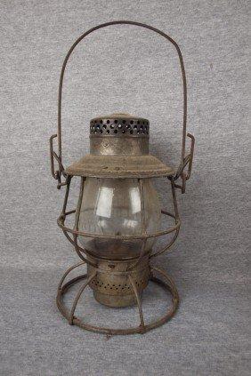 """Adams & Westlake Railroad Lantern Embossed """"PENNSY"""