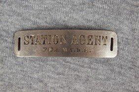 "FE&MVRR Railroad Hat Badge ""Station Agent"""
