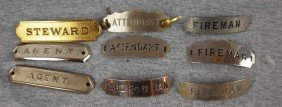 "Lot Of 9 Railroad Hat Badges - ""Steware"", 2 ""Agent"