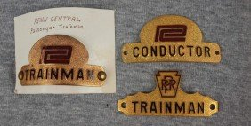"Lot Of 3 Railroad Hat Badges - ""Penn Central Train"